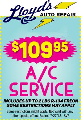 A/C service from Lloyd's Auto Repair